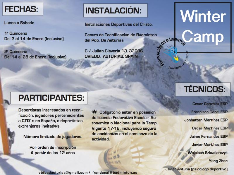 Winter Camps Bádminton Asturias